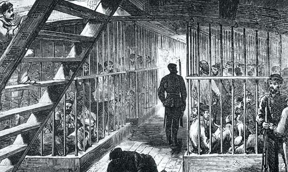 뉴사우스웨일스로 죄수를 호송하는 수송선의 내부
