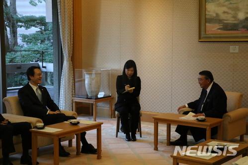 이수훈 주일 한국대사, 오시마 일본 중의원 의장 예방