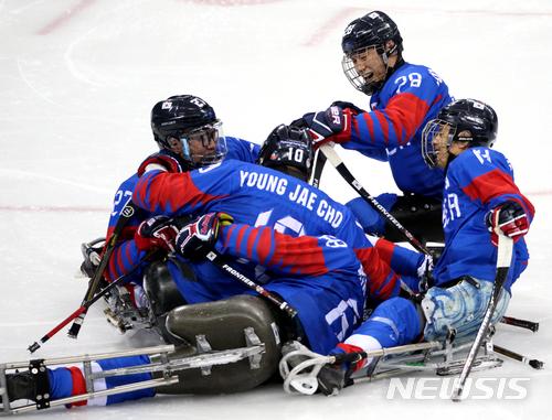 파라 아이스하키 한국 일본 상대 4대1 승리