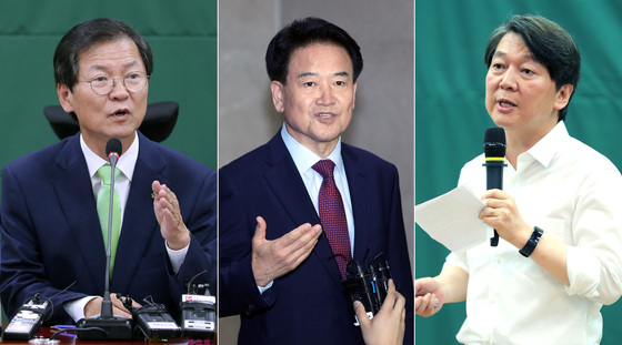 천정배 전 대표와 정동영 의원, 안철수 전 대표(왼쪽부터)가 6일 각각 기자간담회와 기자회견을 열고 당대표 출마를 공식 선언했다. 박종근 기자