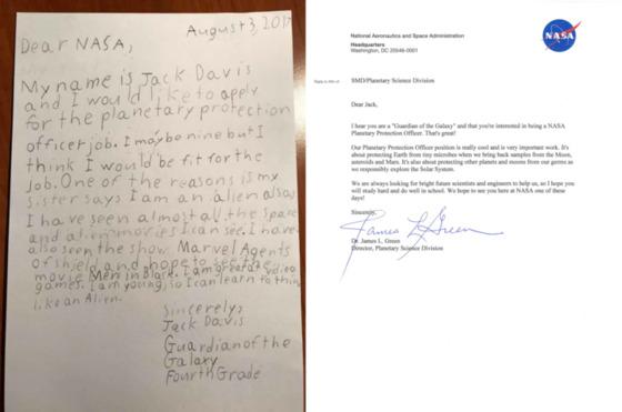 9세 소년 잭 데이비스는 NASA의 '지구방어 책임자' 신규채용 공고에 자신이 '은하계의 수호자'라고 소개하며 지원서를 보냈다. 이에 NASA의 행성 연구 책임자인 그린 박사는 데이비스의 도전 정신을 높게 평가한다며 답장을 보냈다. [사진 Reddit]