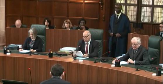 영국 대법원 재판 중계 모습. [유튜브 캡처]
