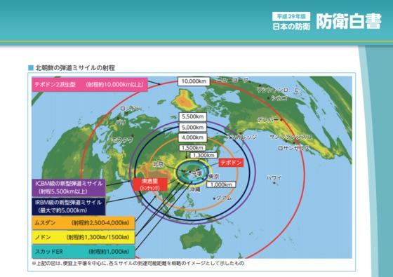 일본정부가 발간한 '2017 방위백서' 중 북한이 개발한 미사일의 사정거리를 표현한 그래픽.