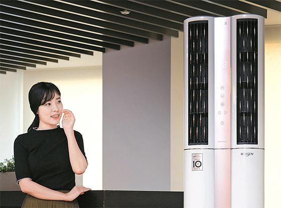 LG전자는 9일 음성인식 인공지능 에어컨 'LG 휘센 듀얼 에어컨'을 출시했다. [사진 LG전자]