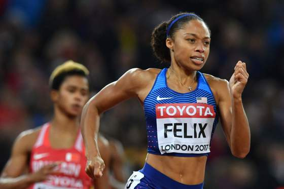 US athlete Allyson Felix competes in the final of the women's 400m athletics event at the 2017 IAAF World Championships at the London Stadium in London on August 9, 2017. / AFP PHOTO / Ben STANSALL/2017-08-10 06:23:56/<저작권자 ⓒ 1980-2017 ㈜연합뉴스. 무단 전재 재배포 금지.>