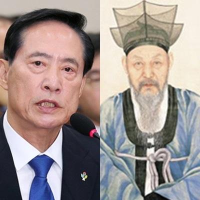 송영무 국방부 장관(왼쪽)과 송병선 선생. [사진 중앙포토, 국가보훈처 까페]