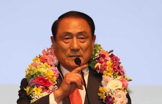 김진호 전 합참의장이 11일 서울 공군회관에서 제 36대 재향군인회장으로 선출된 뒤 당선 소감을 말하고 있다. 김상선 기자
