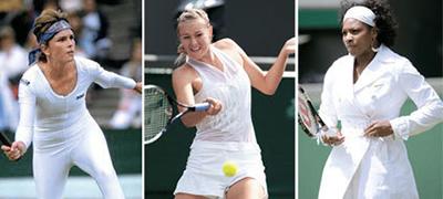 윔블던 테니스 대회는 메이저 대회 중 유일하게 흰옷을 입어야 한다는 복장 규정이 있다. 여자 선수들은 독특한 디자인으로 개성을 표출하고 있다. 왼쪽부터 앤 화이트(미국), 마리야 샤라포바(러시아), 세리나 윌리엄스(미국). [중앙포토]