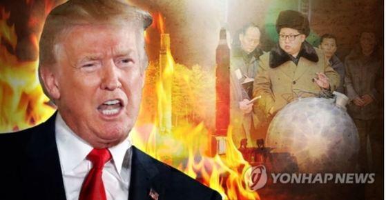 북한에 대한 강성발언을 이어가고 있는 트럼프 미 대통령. [연합뉴스]
