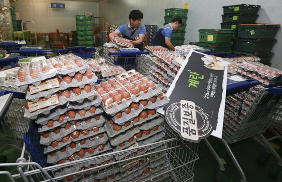 국내 한 친환경 산란계 농장에서 출하된 달걀에서 살충제 성분이 검출되자 15일 대형마트와 편의점 등이 계란 판매를 중단했다. 15일 오전 서울 홈플러스 영등포점에서 직원들이 매장 진열대에 있던 달걀을 창고로 옮긴 뒤 정리하고 있다. 임현동 기자.