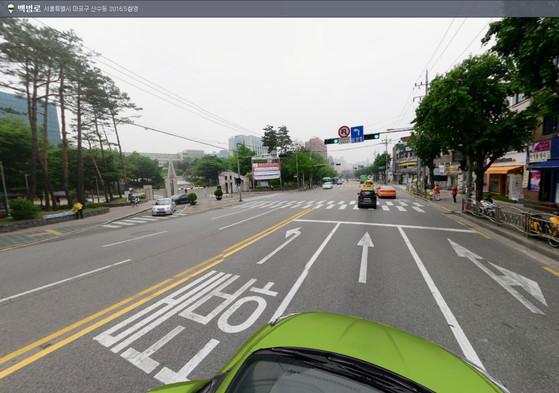 지난해 사고가 벌어진 서강대학교 정문 앞 도로. [네이버 로드뷰 캡쳐]