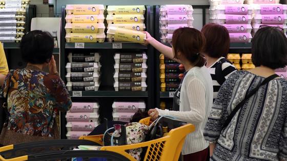 '살충제 계란' 파동 이후 서울의 한 마트에서 소비자들이 계란을 구매하고 있다.강정현 기자