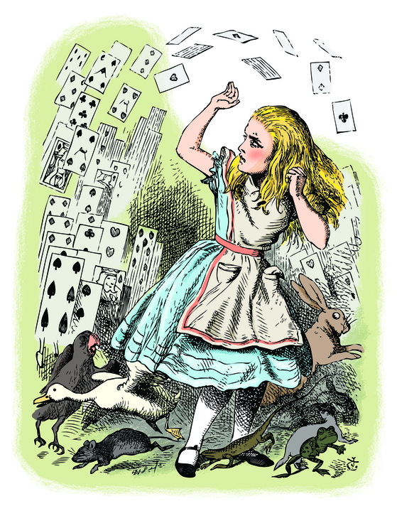 '이상한 나라의 앨리스 추리파일'(보누스) 중에서. Alice in Wonderland. Nothing but a pack of cards. At this whole pack rose up into the air, and came flying down upon her... Alice's Adventures in Wonderland. Illustration from John Tenniel, published in 1865.