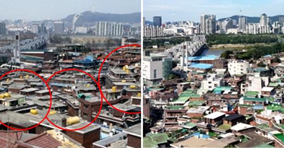 2000년(왼쪽)과 2017년 서울 노량진 지역 옥상 노란 물탱크. [사진 서울시]
