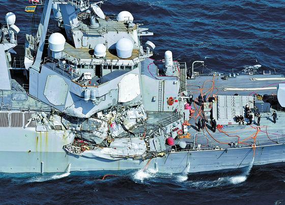 지난 6월 17일 일본 인근 해상에서 필리핀 컨테이너선과 충돌했던 미 이지스함 '피츠제럴드'. [연합뉴스]