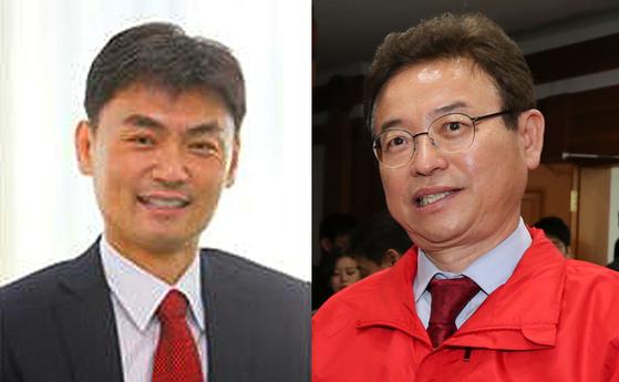 박성진 중소벤처기업부 장관(왼쪽)과 이철우 자유한국당 의원(오른쪽)