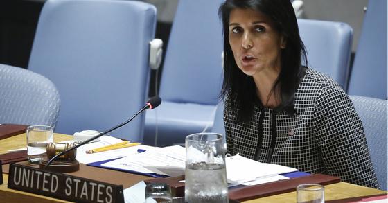 니키 헤일리 유엔주재 미국 대사. [사진 연합뉴스]