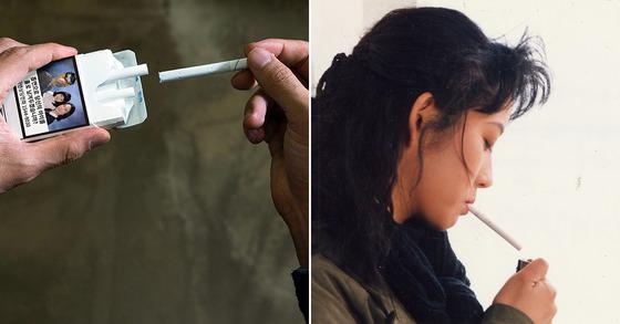 영화 숲속의 방 여주인공이 담배를 피우는 장면.[사진 중앙포토,㈜판영화]