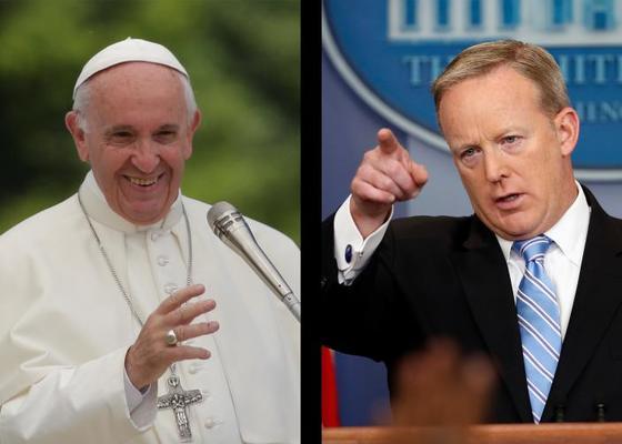 마침내 프란치스코 교황을 만난 숀 스파이서 전 백악관 대변인.