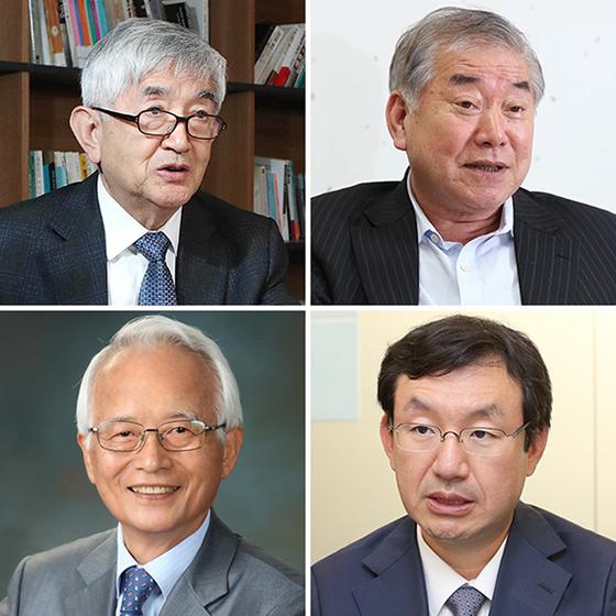 왼쪽 위부터 시계방향으로 최장집, 문정인, 성태윤, 김민환.