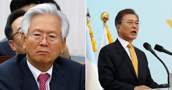 고영주 이사장(왼), 문재인 대통령(오)[사진 중앙포토, 연합뉴스]