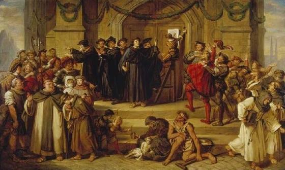 마르틴 루터는 비텐베르크 교회의 정문에 '95개 논제'를 붙이며 종교개혁의 신호탄을 쏘아 올렸다.