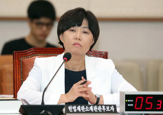 지난달 28일 국회 인사청문회에 출석한 이유정 전 헌법재판소 재판관 후보자. 강정현 기자