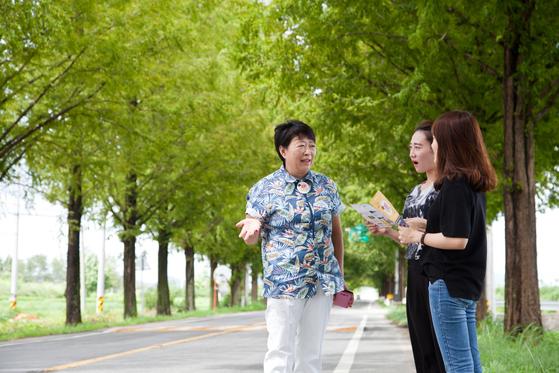 곡성 관광택시 기사 10명 중 유일한 여성인 박애자씨가 택시에서 내려 메타세쿼이아길에서 손님에게 설명하고 있다.