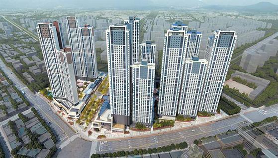 인천 도심권 최초의 더샵 브랜드 아파트인 인천 더샵 스카이타워 조감도.