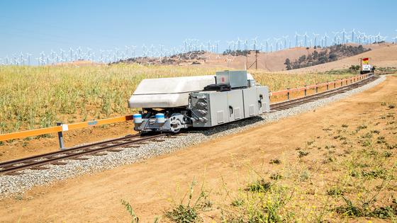 미국의 ARES가 미국 네바다주에 만든 열차 발전 ESS. 남는 전기로 열차를 언덕 위로 올려보낸 후 전기가 필요할 때 내려보내면서 전기를 만든다.[사진 ARES]