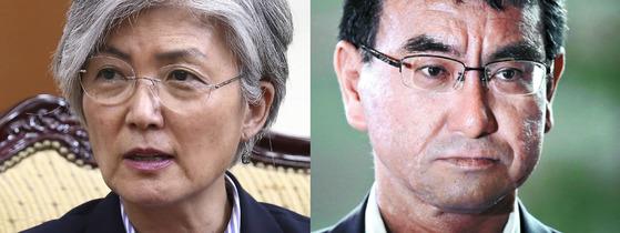 강경화 외교부 장관(좌)과 고노 다로 일본 외무상[중앙포토]