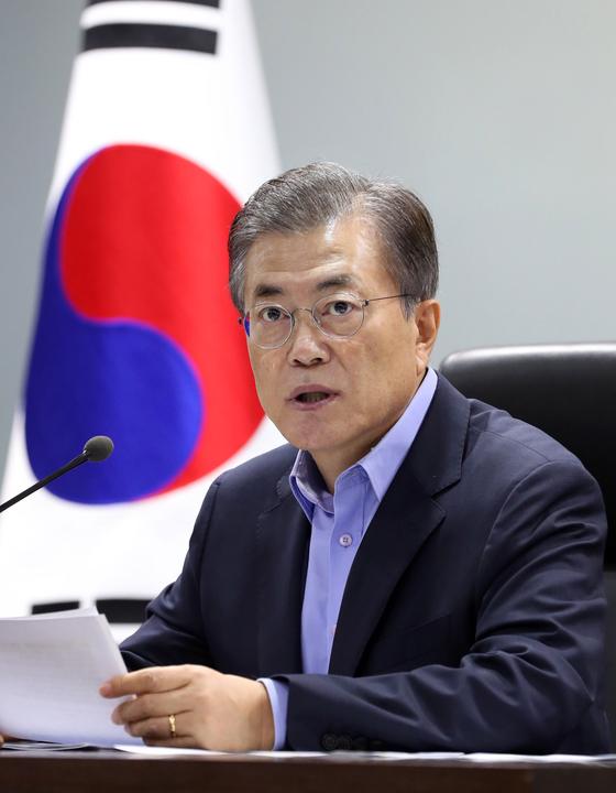 문재인 대통령은 3일 오후 청와대에서 북한의 6차 핵실험과 관련해 NSC 전체회의를 주재했다. 사진제공 청와대