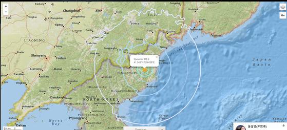 미국 지질조사국(USGS)이 관측한 북한의 제6차 핵실험으로 추정되는 인공지진(진도 6.3) [중앙포토]