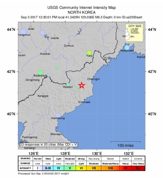 미국 지질조사국(USGS)이 3일 12시30분 감지한 북한 6차 핵실험 강도 M(규모) 6.3.