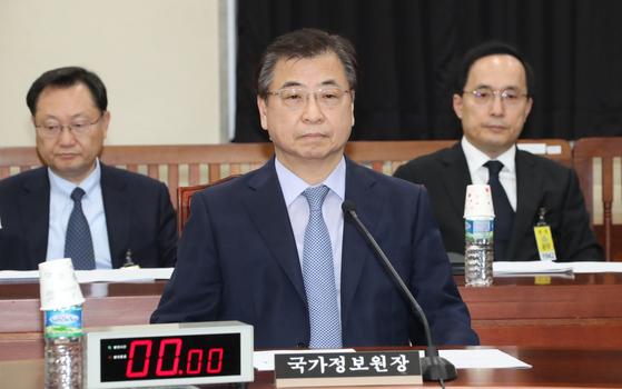 서훈 국정원장이 4일 오후 북한의 6차 핵실험 등 현안문제를 브리핑하기 위해 열린 국회 정보위원회에서 굳은 표정으로 앉아 있다. [중앙포토]