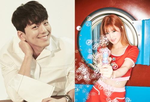 왼쪽부터 김민규(해피트라이브엔터테인먼트),Apink 초롱(플랜에이엔터테인먼트)