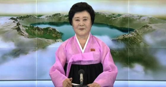 북한의 중대 소식을 단골로 전하는 간판 아나운서인 이춘희가 3일 북한의 6차 핵실험과 관련된 조선중앙TV의 중대보도를 전하고 있다. 연합뉴스