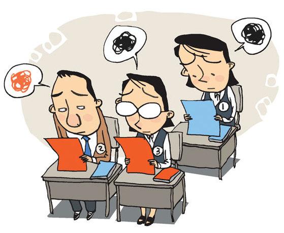 현 중2가 고교에 입학하는 2년 뒤 고교는 3개 학년이 모두 다른 교육과정과 다른 수능을 치르는 상황이 된다. 삽화=김회룡기자aseokim@joongang.co.kr