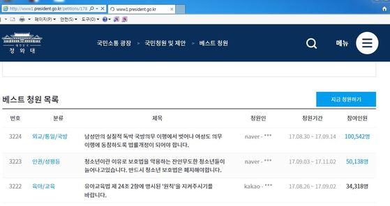 4일 오후 11시 기준 청와대 홈페이지 상황.
