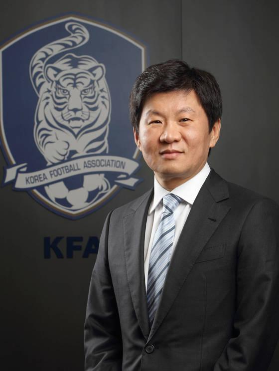 한국축구대표팀이 9회 연속 월드컵 본선에 진출했다. 사진은 대한축구협회 회장 정몽규. [대한축구협회]