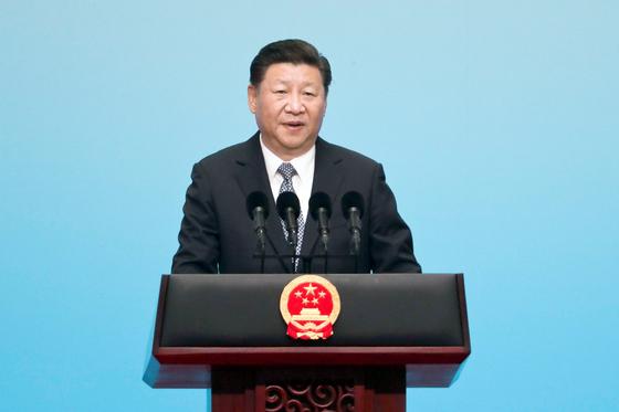 시진핑 중국 국가주석이 신흥 5개국(BRIcS) 정상회의 첫 날인 지난 3일 기조연설을 하고 있다. 이날 북한은 핵실험을 했다. [샤먼 AFP=연합뉴스]