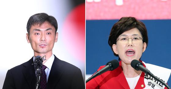 박성진 중소벤처기업부 장관 후보자(왼쪽)와 최연혜 자유한국당 의원. [연합뉴스]