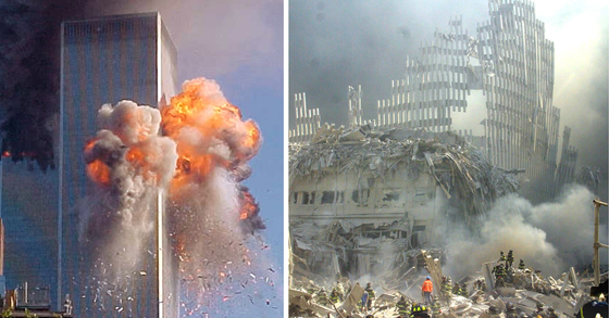 A fireball explodes from one of the World Trade Center towers after a jet airliner crashed into the building Tuesday, Sept. 11, 2001, in New York. (AP Photo/Carmen Taylor via KHBS/KHOG-TV)
