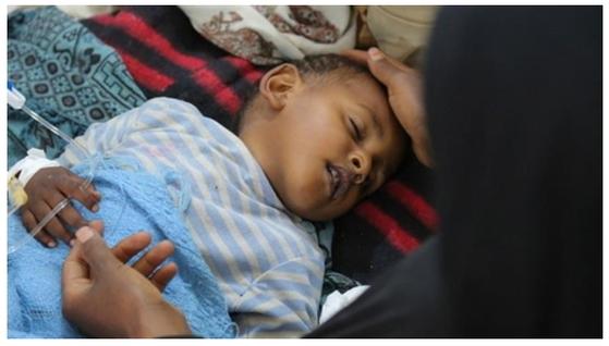 콜레라로 힘들어 하는 예멘 어린이 [유니세프=연합뉴스]
