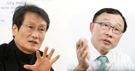 배우 문성근씨(왼쪽)와 그의 변론을 맡기로 한 채동욱 전 검찰총장.[중앙일보]