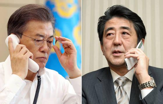 문재인 대통령이 지난 4일 아베 신조(安倍晋三) 일본 총리와 전화통화를 하고 있는 모습 [연합뉴스]
