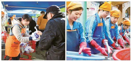 밥퍼나눔운동에서 임직원이 후원 물품을 전달하고 있다. 오른쪽 사진은 임직원이 어르신과 노숙인을 위한 반찬을 준비하는 모습. [사진 동아쏘시오그룹]