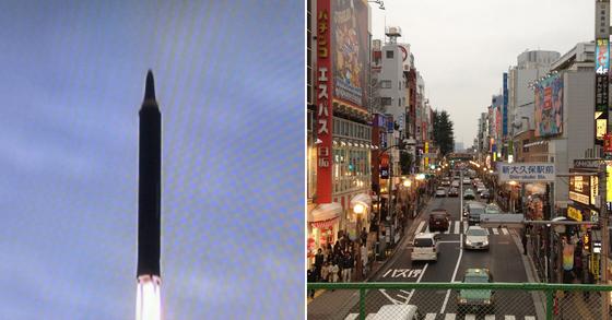 북한 미사일과 일본 도쿄의 오쿠보 사진. [사진=flickr, CC BY 2.0]