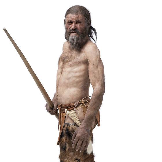 두개골 3차원 영상 등으로 복원된 5300년 전 미라아이스맨 '외치'의 모습. [사진 남티롤고고학박물관]