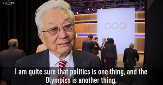 장웅 북한 IOC 위원장. [올림픽채널 홈페이지 캡처]